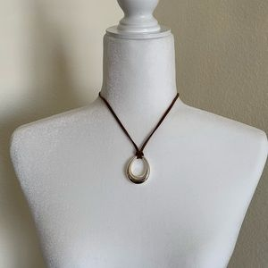 ⭐️3/$18 necklace silvertone oval hoop on strap